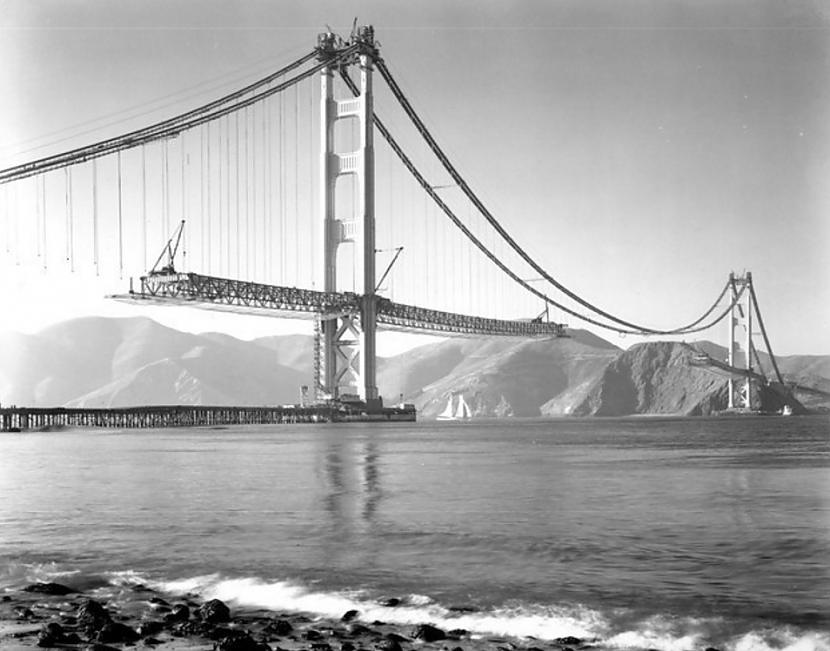 Zelta vārtu tilts 1936g... Autors: Lestets Pasaules ikoniskās būves pirms to pabeigšanas